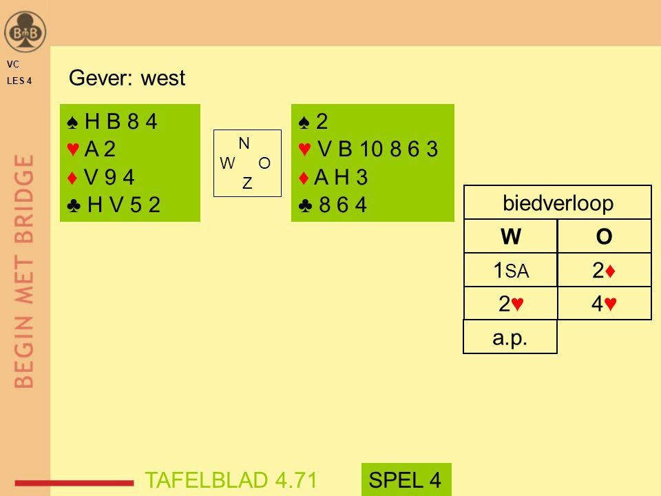 2♥2♥ 4♥4♥ 1 SA 2♦2♦ WO biedverloop ♠ 2 ♥ V B 10 8 6 3 ♦ A H 3 ♣ 8 6 4 a.p.