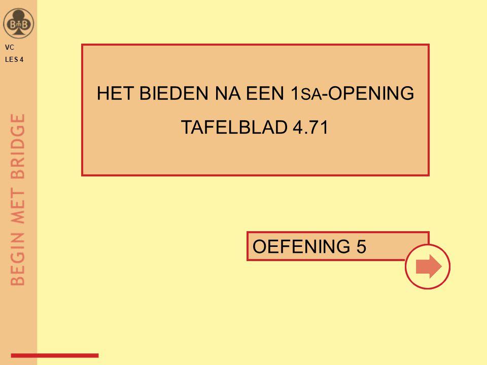OEFENING 5 HET BIEDEN NA EEN 1 SA -OPENING TAFELBLAD 4.71 VC LES 4