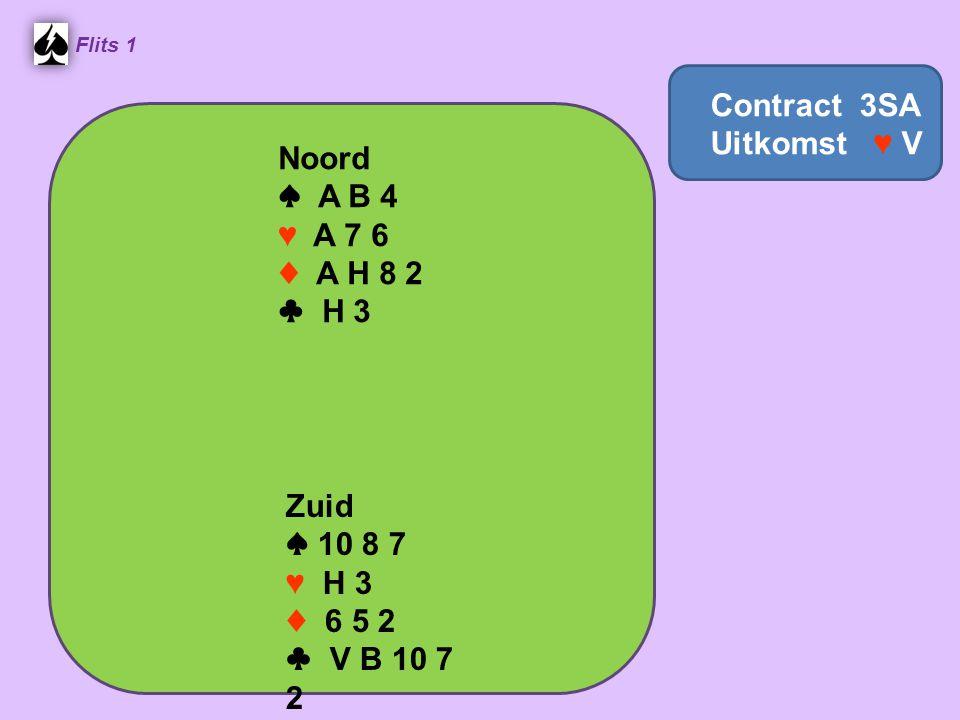 Noord ♠ A B 4 ♥ A 7 6 ♦ A H 8 2 ♣ H 3 Flits 1 Zuid ♠ 10 8 7 ♥ H 3 ♦ 6 5 2 ♣ V B 10 7 2 Contract 3SA Uitkomst ♥ V