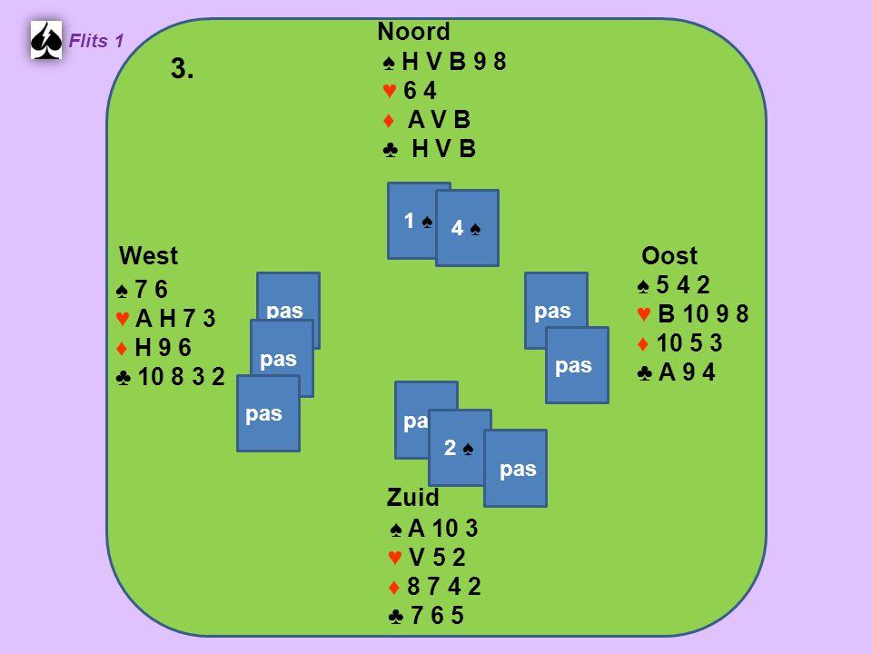 Zuid ♠ A 10 3 ♥ V 5 2 ♦ 8 7 4 2 ♣ 7 6 5 West ♠ 7 6 ♥ A H 7 3 ♦ H 9 6 ♣ 10 8 3 2 Noord ♠ H V B 9 8 ♥ 6 4 ♦ A V B ♣ H V B Oost ♠ 5 4 2 ♥ B 10 9 8 ♦ 10 5 3 ♣ A 9 4 3.