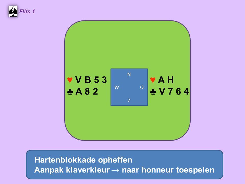 Flits 1 ♥ A H ♣ V 7 6 4 ♥ V B 5 3 ♣ A 8 2 Hartenblokkade opheffen Aanpak klaverkleur → naar honneur toespelen N W O Z