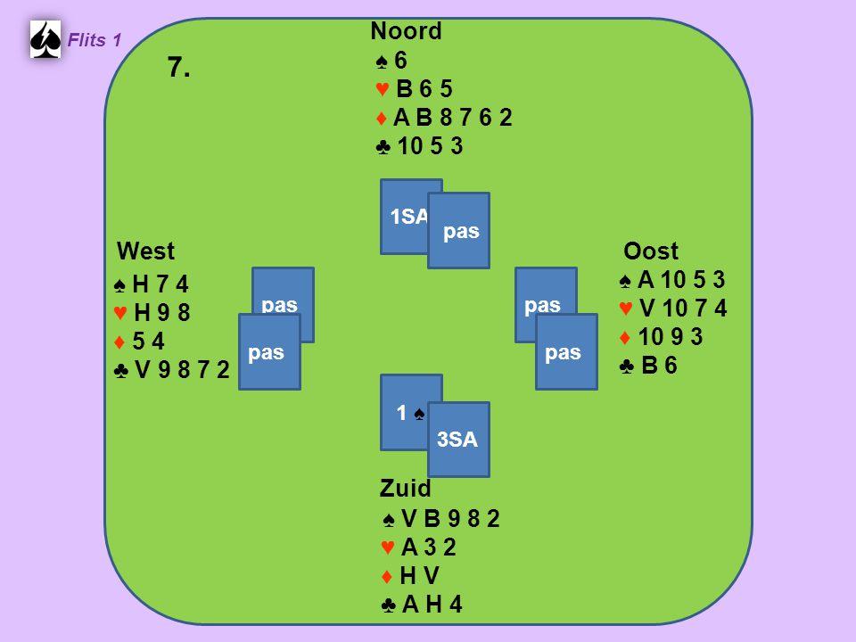 Zuid ♠ V B 9 8 2 ♥ A 3 2 ♦ H V ♣ A H 4 West ♠ H 7 4 ♥ H 9 8 ♦ 5 4 ♣ V 9 8 7 2 Noord ♠ 6 ♥ B 6 5 ♦ A B 8 7 6 2 ♣ 10 5 3 Oost ♠ A 10 5 3 ♥ V 10 7 4 ♦ 10 9 3 ♣ B 6 7.