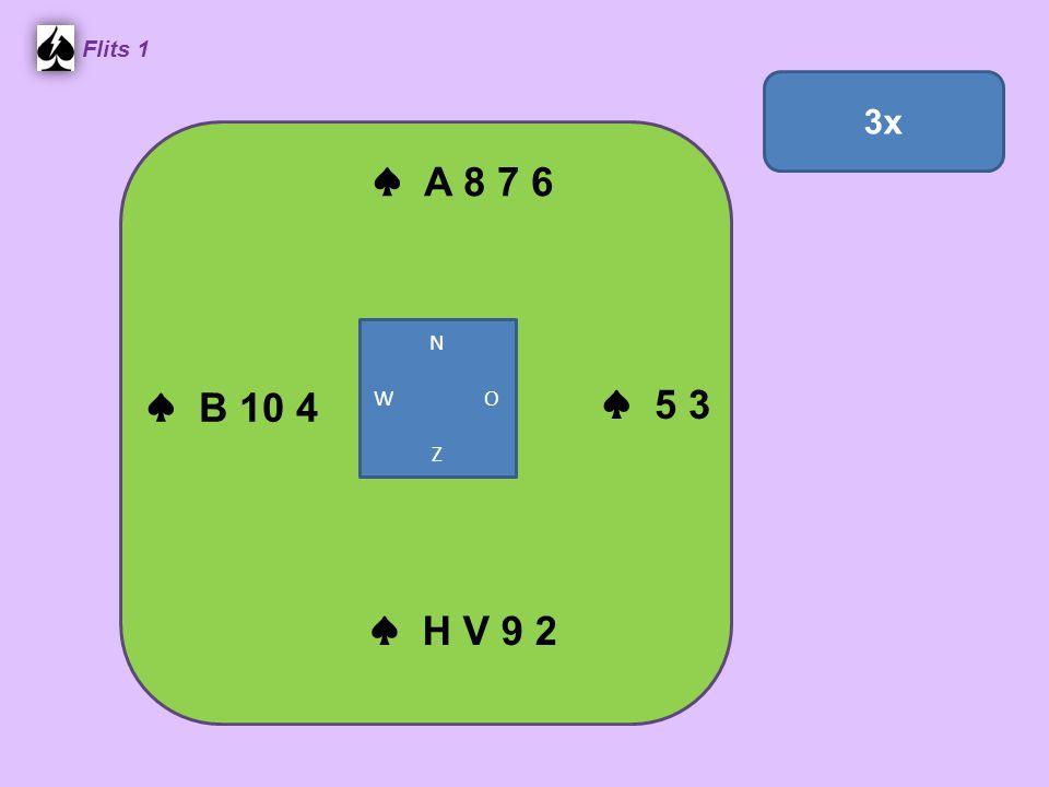 Zuid ♠ H B 5 ♥ 9 5 ♦ B 10 7 3 2 ♣ H V 9 West ♠ 9 7 6 ♥ A 10 6 4 2 ♦ A ♣ A 8 4 3 Noord ♠ A 10 8 3 ♥ B 8 7 ♦ H V 9 4 ♣ 10 2 Oost ♠ V 4 2 ♥ H V 3 ♦ 8 6 5 ♣ B 7 6 5 4.
