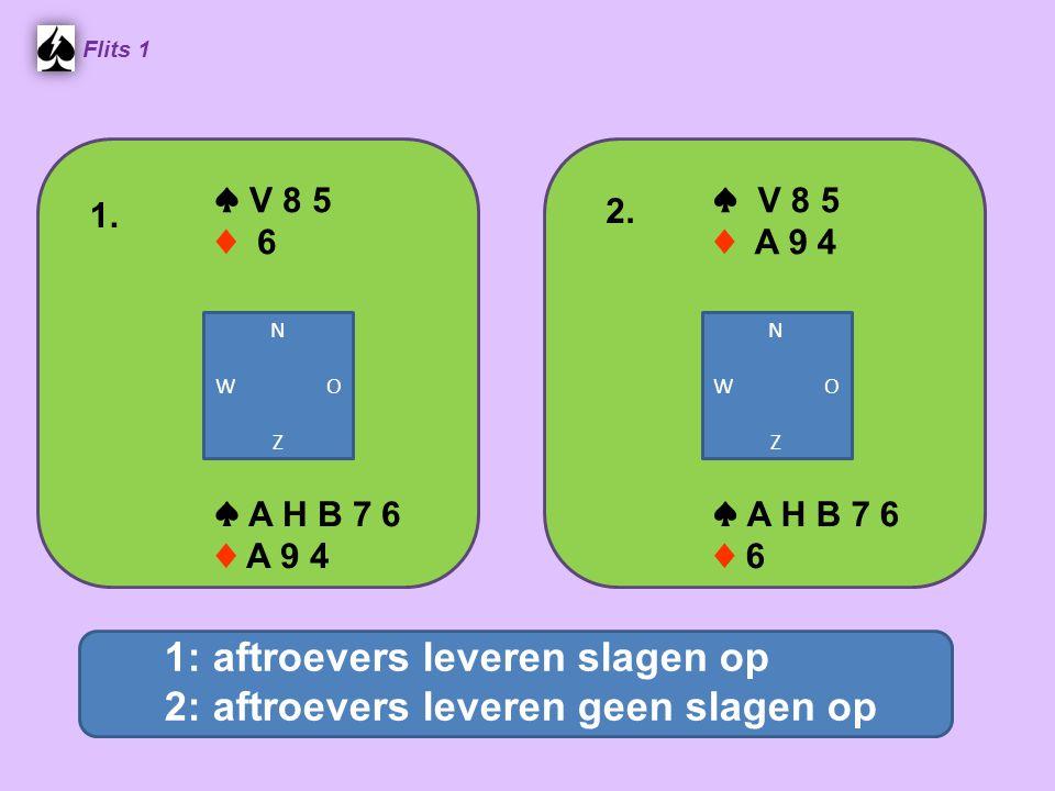 ♥ V 8 4 Flits 1 ♥ A H B 10 6 Aftroevers : voor of na het troeftrekken.