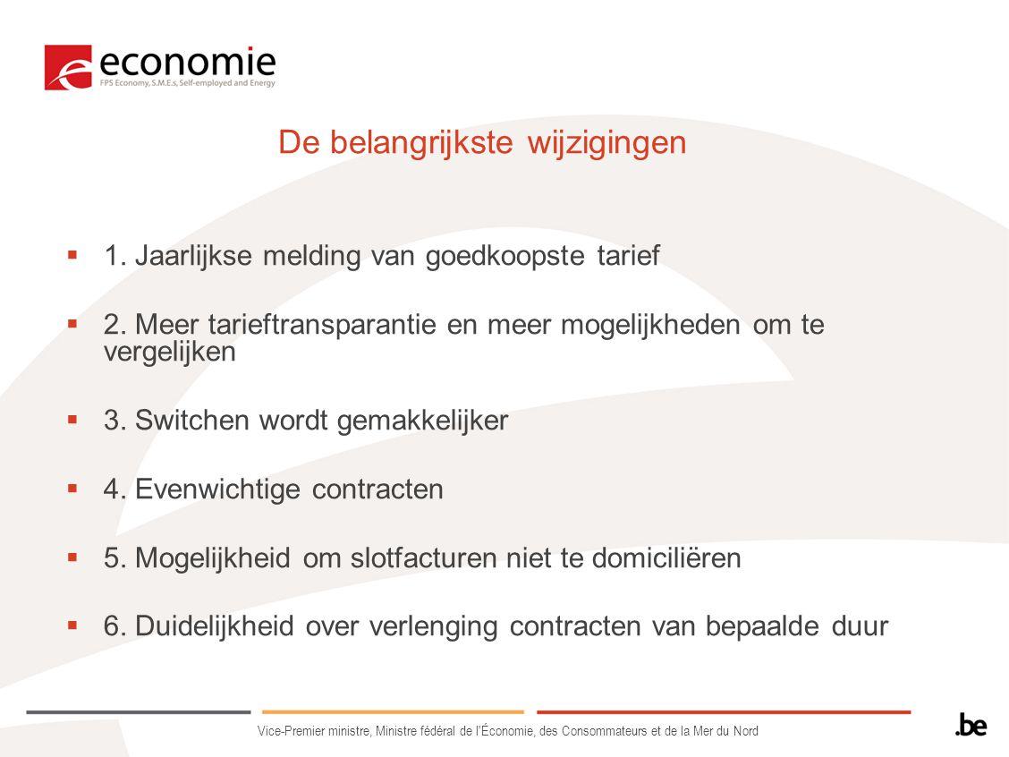 De belangrijkste wijzigingen  1. Jaarlijkse melding van goedkoopste tarief  2. Meer tarieftransparantie en meer mogelijkheden om te vergelijken  3.