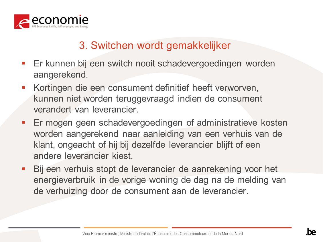 3. Switchen wordt gemakkelijker  Er kunnen bij een switch nooit schadevergoedingen worden aangerekend.  Kortingen die een consument definitief heeft