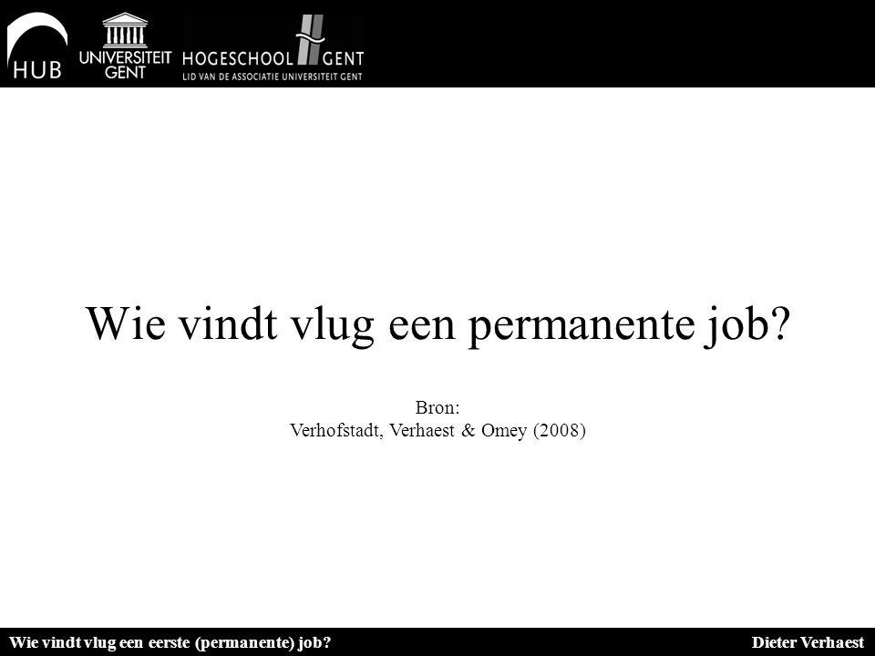 Wie vindt vlug een permanente job? Bron: Verhofstadt, Verhaest & Omey (2008) Wie vindt vlug een eerste (permanente) job? Dieter Verhaest