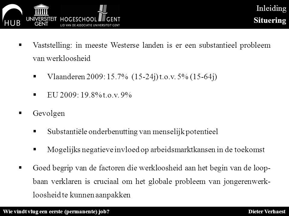 Inleiding Situering  Vaststelling: in meeste Westerse landen is er een substantieel probleem van werkloosheid  Vlaanderen 2009: 15.7% (15-24j) t.o.v.