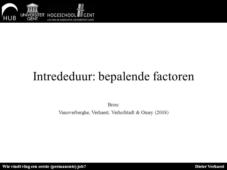 Intrededuur: bepalende factoren Bron: Vanoverberghe, Verhaest, Verhofstadt & Omey (2008) Wie vindt vlug een eerste (permanente) job? Dieter Verhaest