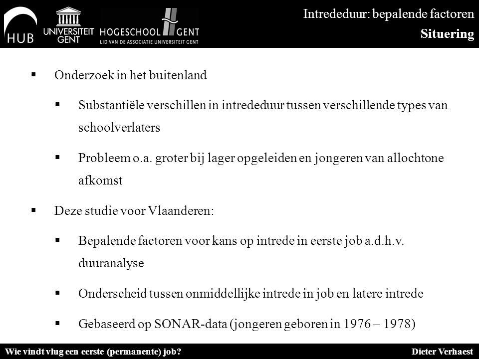  Onderzoek in het buitenland  Substantiële verschillen in intrededuur tussen verschillende types van schoolverlaters  Probleem o.a. groter bij lage