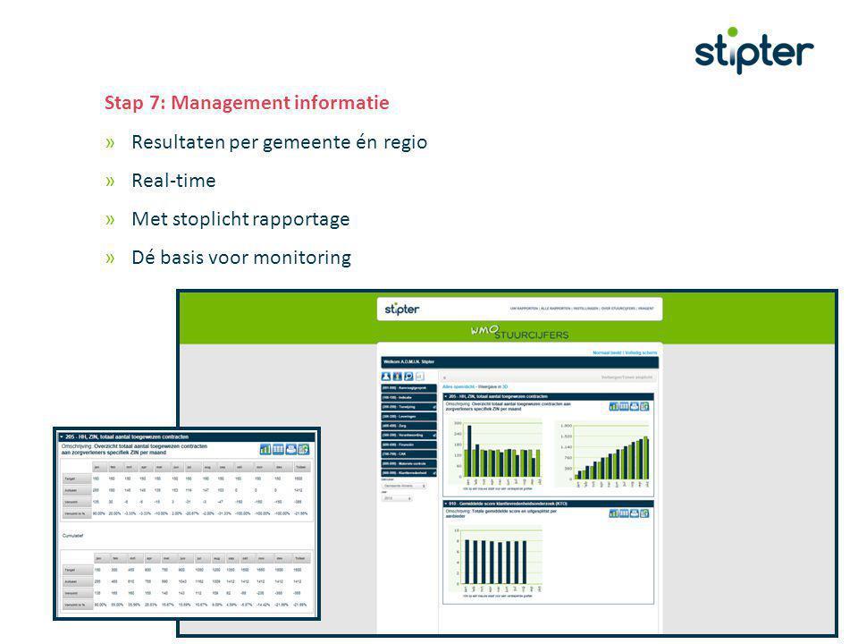 Stap 7: Management informatie »Resultaten per gemeente én regio »Real-time »Met stoplicht rapportage »Dé basis voor monitoring