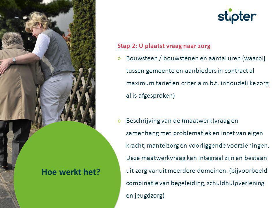 Stap 2: U plaatst vraag naar zorg »Bouwsteen / bouwstenen en aantal uren (waarbij tussen gemeente en aanbieders in contract al maximum tarief en criteria m.b.t.