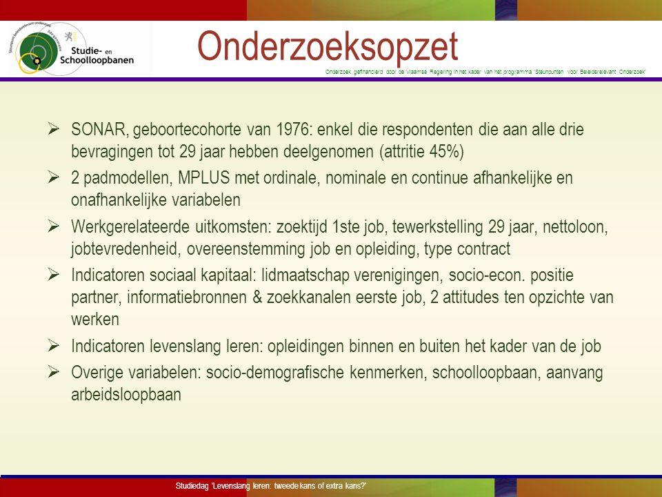 Onderzoek gefinancierd door de Vlaamse Regering in het kader van het programma 'Steunpunten voor Beleidsrelevant Onderzoek' Participatie levenslang leren Studiedag Levenslang leren: tweede kans of extra kans? N% Terugkeer secundair of hoger onderwijs19112,1% Onderwijs voor sociale promotie1398,8% VDAB1298,2% Andere opleidingen buiten het kader van de job24415,5% (Non-)formeel binnen het kader van de job87455,4% Informeel binnen het kader van de job89056,4% Tabel 1.