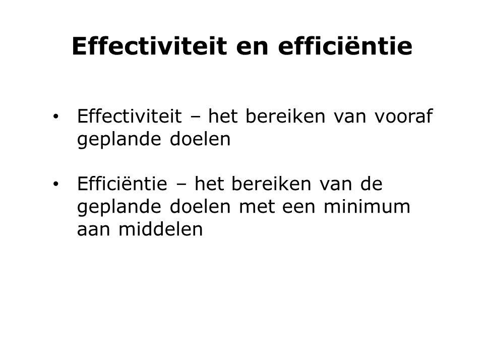 Effectiviteit en efficiëntie Effectiviteit – het bereiken van vooraf geplande doelen Efficiëntie – het bereiken van de geplande doelen met een minimum
