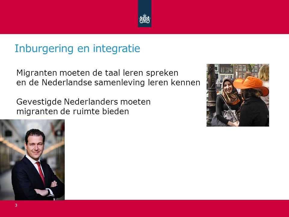 Inburgering en integratie 3 Migranten moeten de taal leren spreken en de Nederlandse samenleving leren kennen Gevestigde Nederlanders moeten migranten