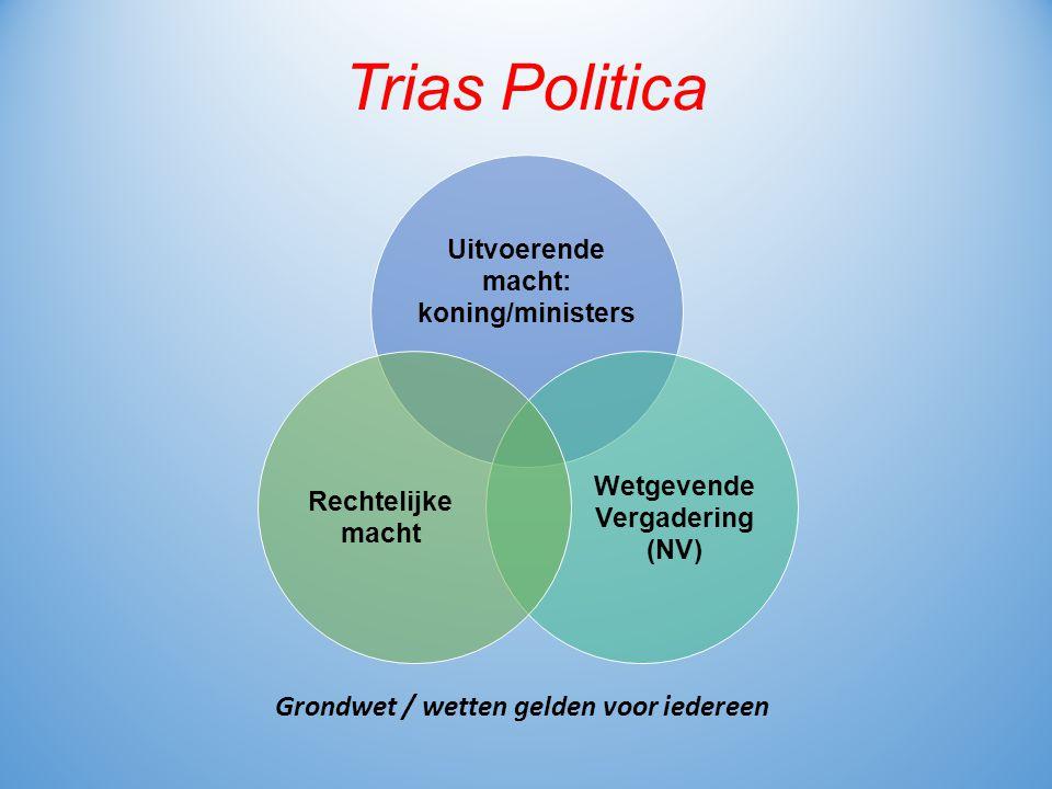 Trias Politica Uitvoerende macht: koning/ministers Wetgevende Vergadering (NV) Rechtelijke macht Grondwet / wetten gelden voor iedereen