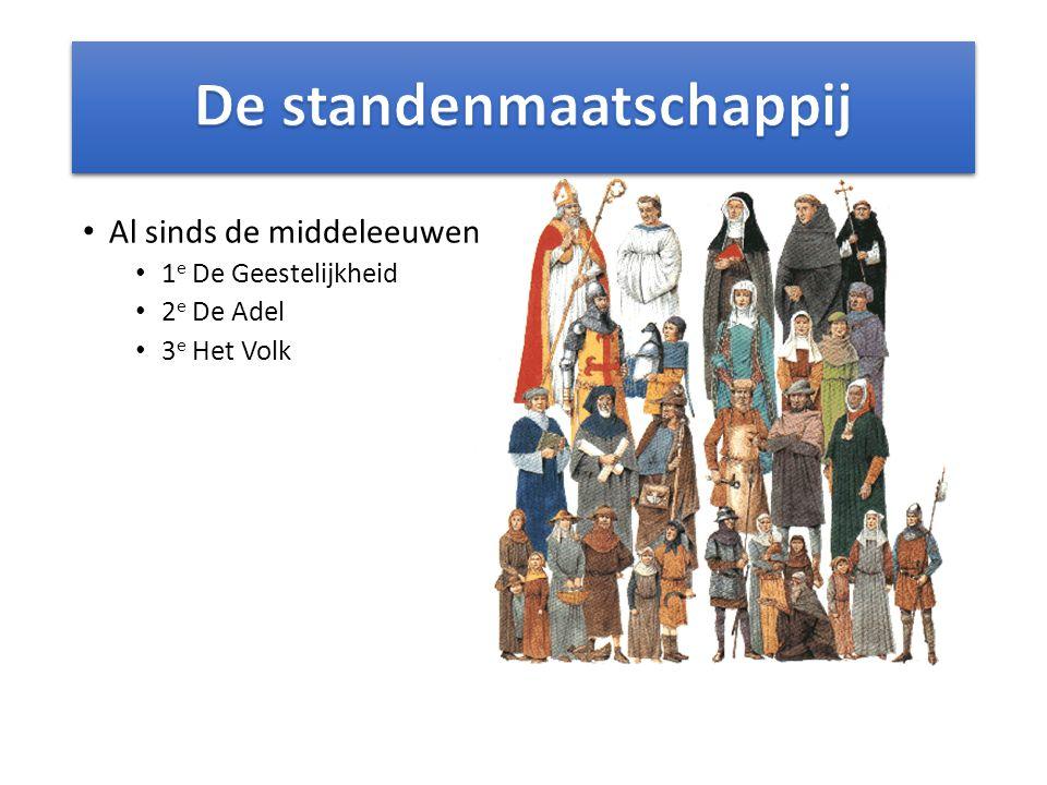 Al sinds de middeleeuwen 1 e De Geestelijkheid 2 e De Adel 3 e Het Volk