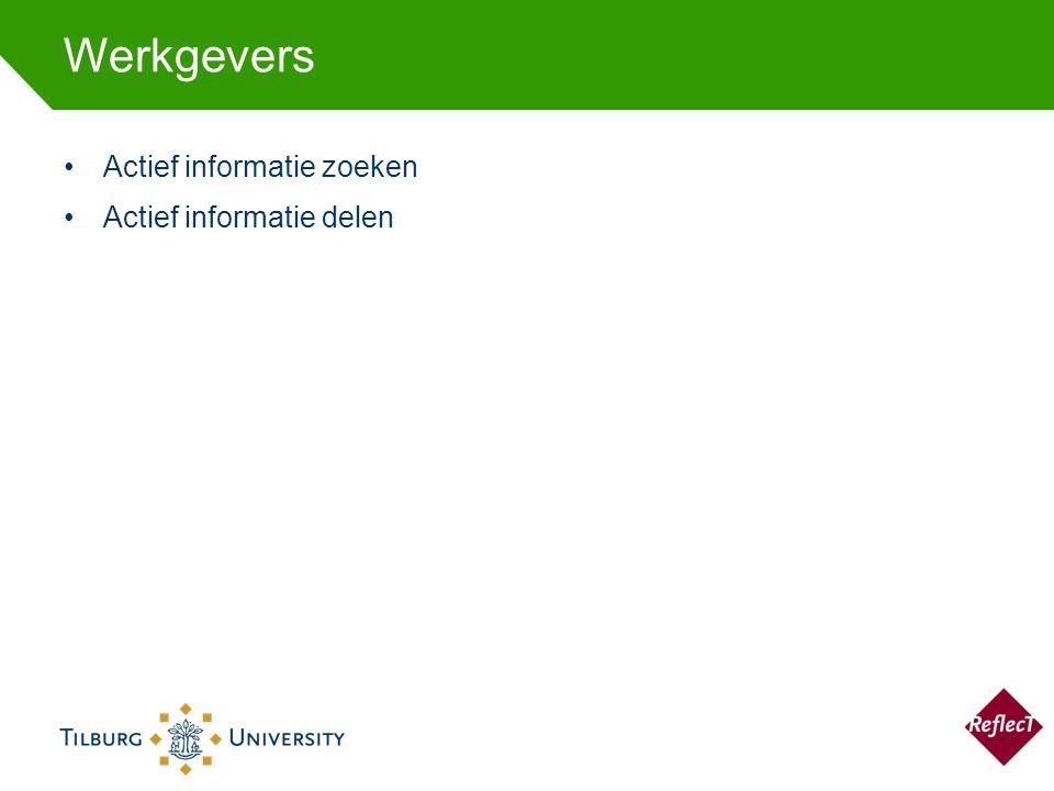 Werkgevers Actief informatie zoeken Actief informatie delen