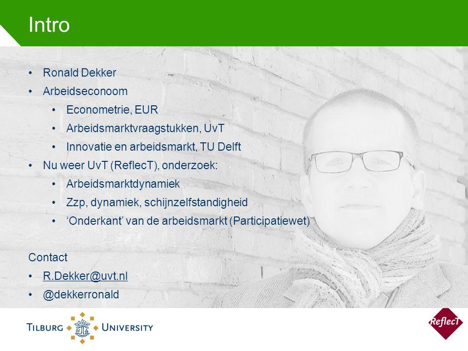 Intro Ronald Dekker Arbeidseconoom Econometrie, EUR Arbeidsmarktvraagstukken, UvT Innovatie en arbeidsmarkt, TU Delft Nu weer UvT (ReflecT), onderzoek: Arbeidsmarktdynamiek Zzp, dynamiek, schijnzelfstandigheid 'Onderkant' van de arbeidsmarkt (Participatiewet) Contact R.Dekker@uvt.nl @dekkerronald