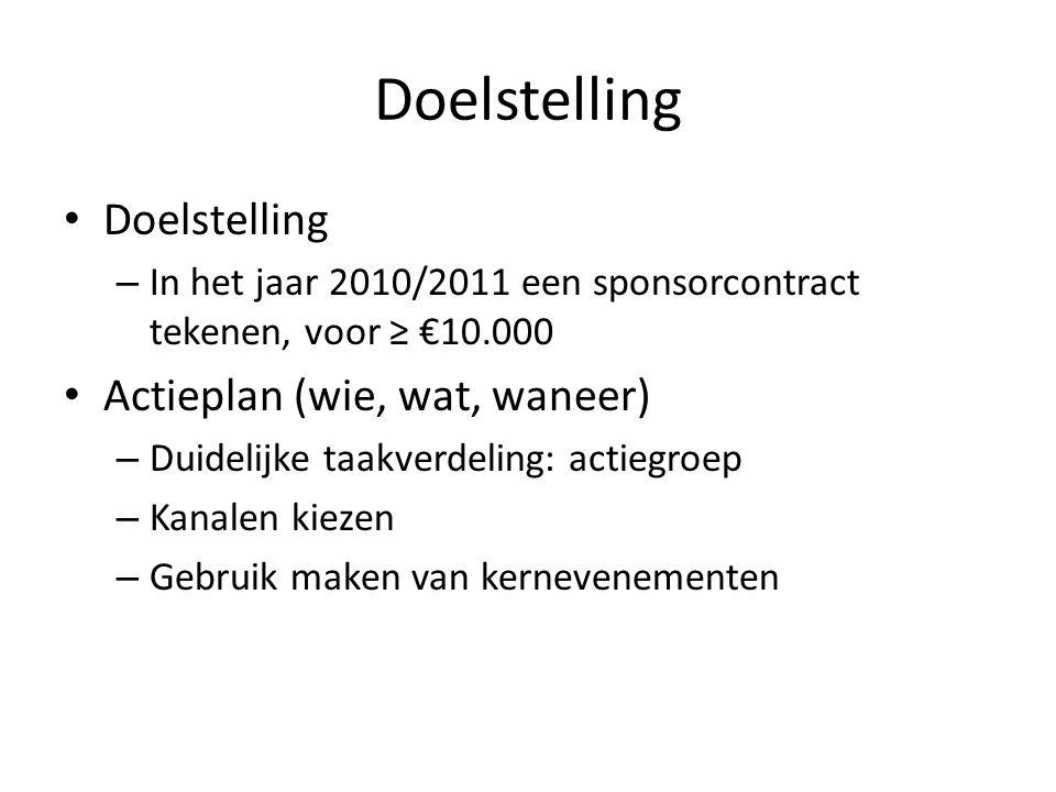 Doelstelling – In het jaar 2010/2011 een sponsorcontract tekenen, voor ≥ €10.000 Actieplan (wie, wat, waneer) – Duidelijke taakverdeling: actiegroep – Kanalen kiezen – Gebruik maken van kernevenementen