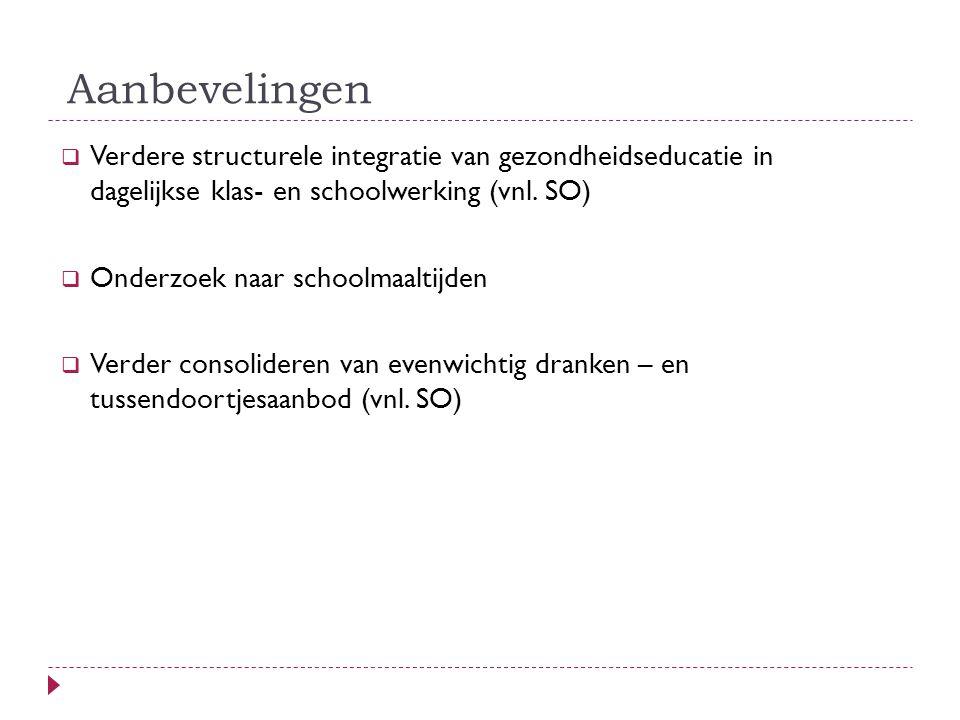 Aanbevelingen  Verdere structurele integratie van gezondheidseducatie in dagelijkse klas- en schoolwerking (vnl.