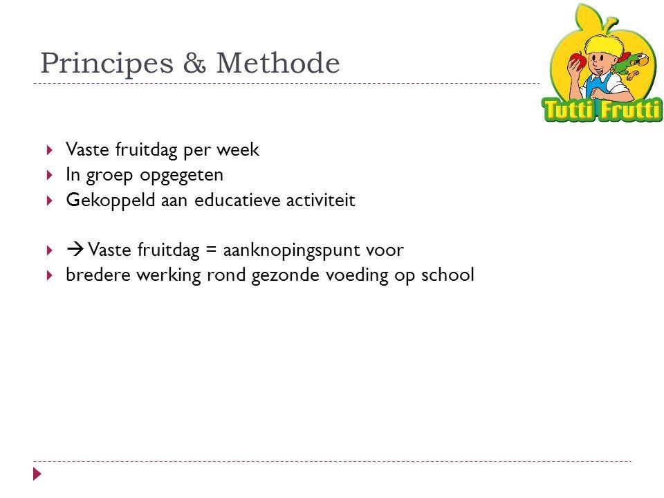 Principes & Methode  Vaste fruitdag per week  In groep opgegeten  Gekoppeld aan educatieve activiteit   Vaste fruitdag = aanknopingspunt voor  bredere werking rond gezonde voeding op school