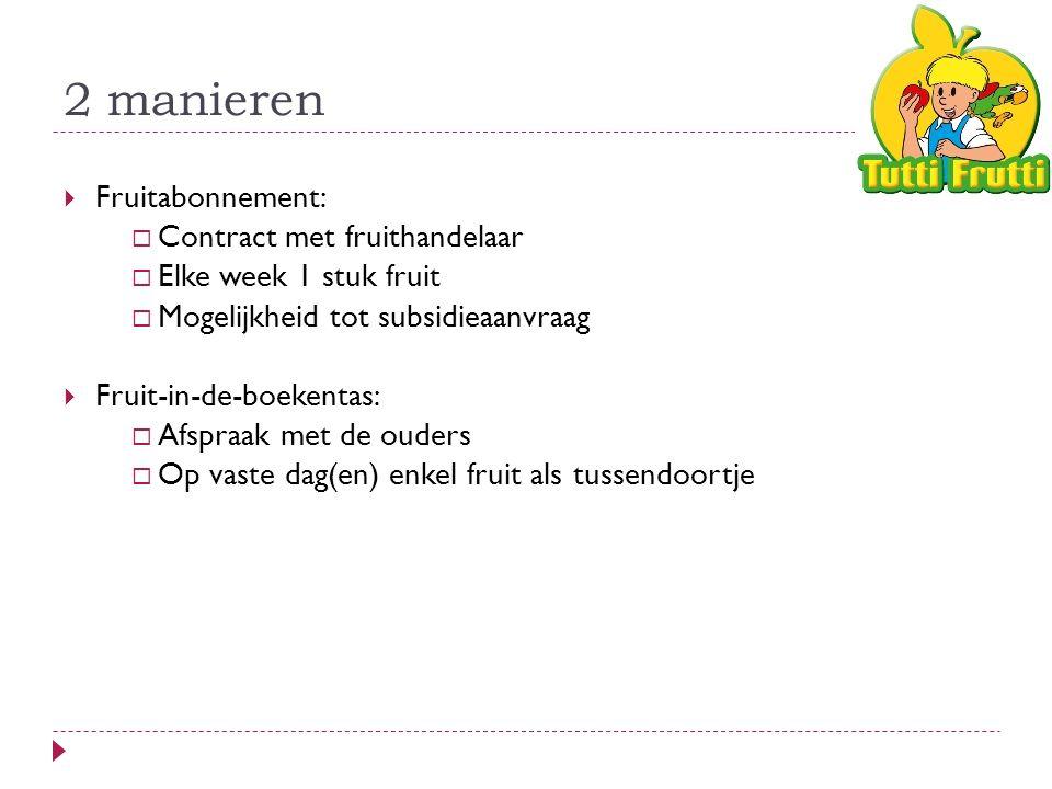 2 manieren  Fruitabonnement:  Contract met fruithandelaar  Elke week 1 stuk fruit  Mogelijkheid tot subsidieaanvraag  Fruit-in-de-boekentas:  Afspraak met de ouders  Op vaste dag(en) enkel fruit als tussendoortje