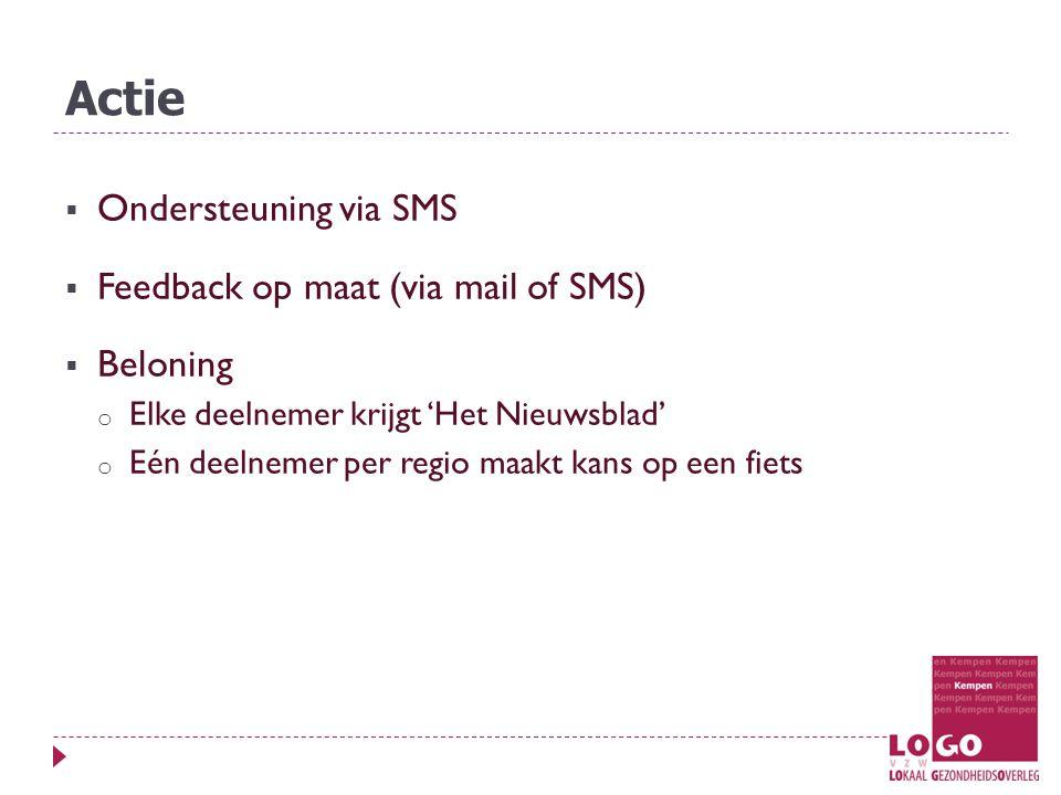 Actie  Ondersteuning via SMS  Feedback op maat (via mail of SMS)  Beloning o Elke deelnemer krijgt 'Het Nieuwsblad' o Eén deelnemer per regio maakt kans op een fiets