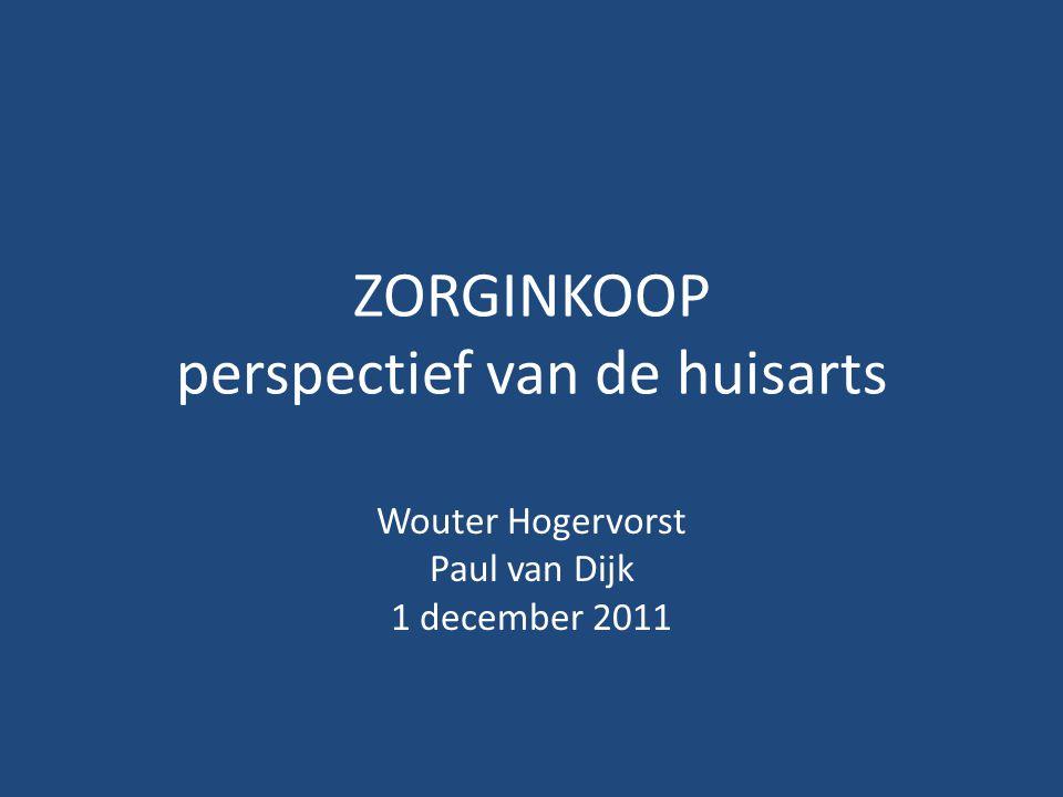 ZORGINKOOP perspectief van de huisarts Wouter Hogervorst Paul van Dijk 1 december 2011