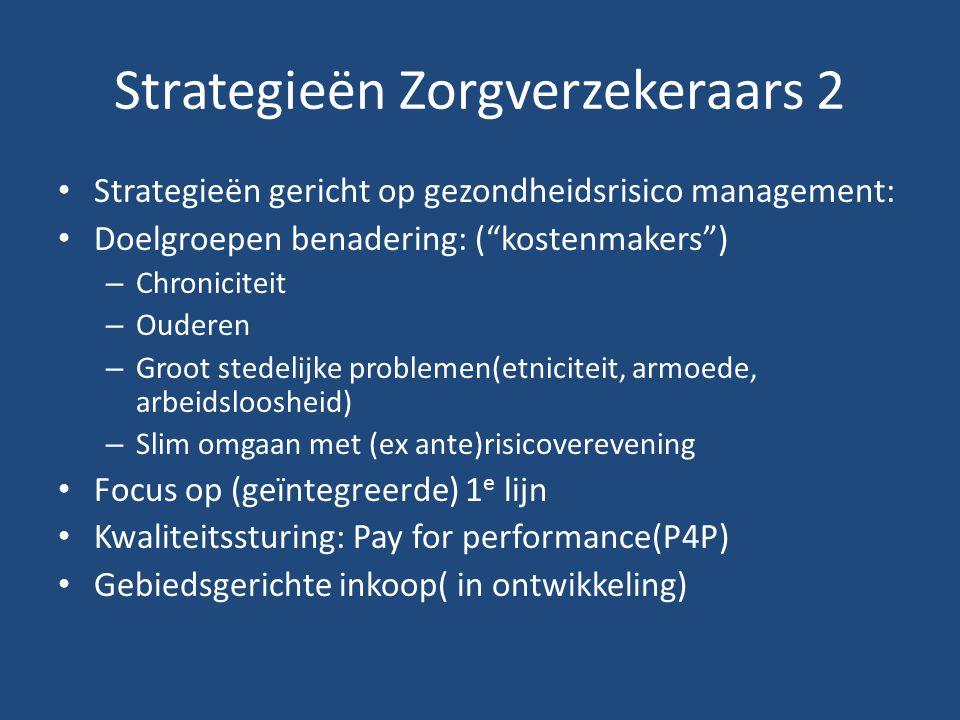 Strategieën Zorgverzekeraars 2 Strategieën gericht op gezondheidsrisico management: Doelgroepen benadering: ( kostenmakers ) – Chroniciteit – Ouderen – Groot stedelijke problemen(etniciteit, armoede, arbeidsloosheid) – Slim omgaan met (ex ante)risicoverevening Focus op (geïntegreerde) 1 e lijn Kwaliteitssturing: Pay for performance(P4P) Gebiedsgerichte inkoop( in ontwikkeling)