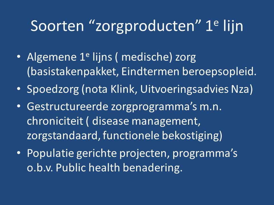 Soorten zorgproducten 1 e lijn Algemene 1 e lijns ( medische) zorg (basistakenpakket, Eindtermen beroepsopleid.