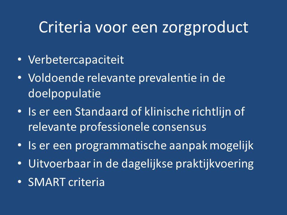Criteria voor een zorgproduct Verbetercapaciteit Voldoende relevante prevalentie in de doelpopulatie Is er een Standaard of klinische richtlijn of relevante professionele consensus Is er een programmatische aanpak mogelijk Uitvoerbaar in de dagelijkse praktijkvoering SMART criteria