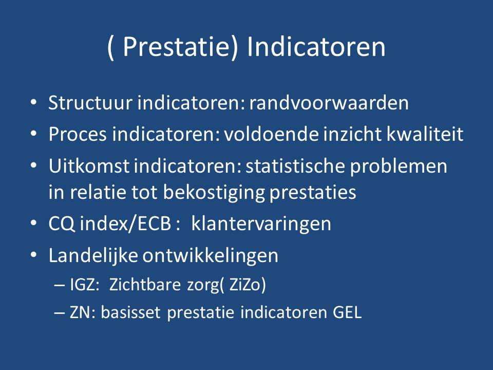 ( Prestatie) Indicatoren Structuur indicatoren: randvoorwaarden Proces indicatoren: voldoende inzicht kwaliteit Uitkomst indicatoren: statistische problemen in relatie tot bekostiging prestaties CQ index/ECB : klantervaringen Landelijke ontwikkelingen – IGZ: Zichtbare zorg( ZiZo) – ZN: basisset prestatie indicatoren GEL