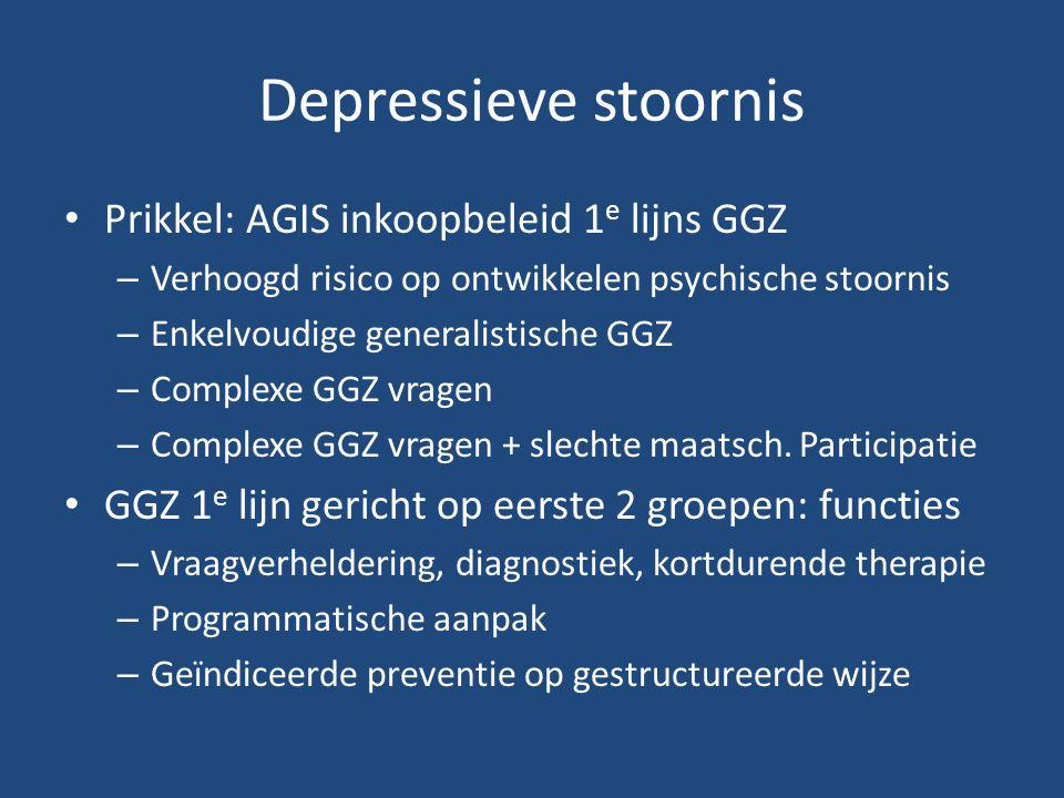 Depressieve stoornis Prikkel: AGIS inkoopbeleid 1 e lijns GGZ – Verhoogd risico op ontwikkelen psychische stoornis – Enkelvoudige generalistische GGZ – Complexe GGZ vragen – Complexe GGZ vragen + slechte maatsch.