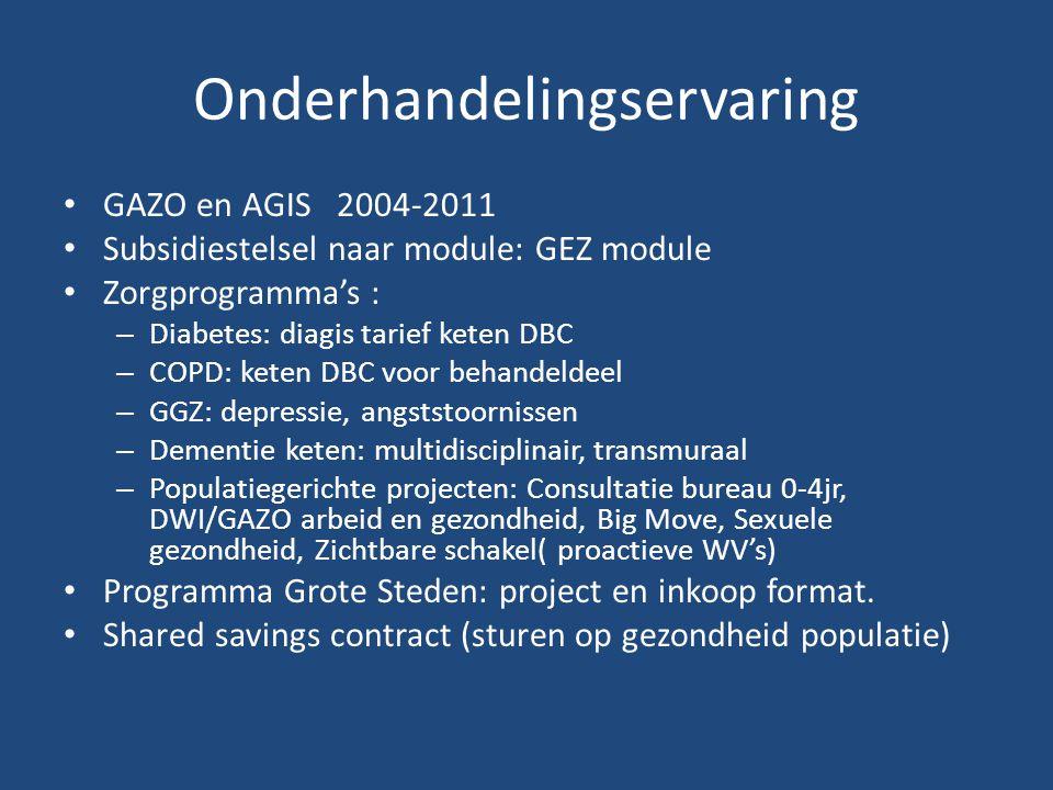 Onderhandelingservaring GAZO en AGIS 2004-2011 Subsidiestelsel naar module: GEZ module Zorgprogramma's : – Diabetes: diagis tarief keten DBC – COPD: keten DBC voor behandeldeel – GGZ: depressie, angststoornissen – Dementie keten: multidisciplinair, transmuraal – Populatiegerichte projecten: Consultatie bureau 0-4jr, DWI/GAZO arbeid en gezondheid, Big Move, Sexuele gezondheid, Zichtbare schakel( proactieve WV's) Programma Grote Steden: project en inkoop format.