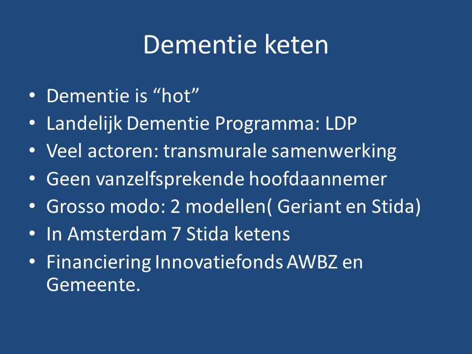 Dementie keten Dementie is hot Landelijk Dementie Programma: LDP Veel actoren: transmurale samenwerking Geen vanzelfsprekende hoofdaannemer Grosso modo: 2 modellen( Geriant en Stida) In Amsterdam 7 Stida ketens Financiering Innovatiefonds AWBZ en Gemeente.