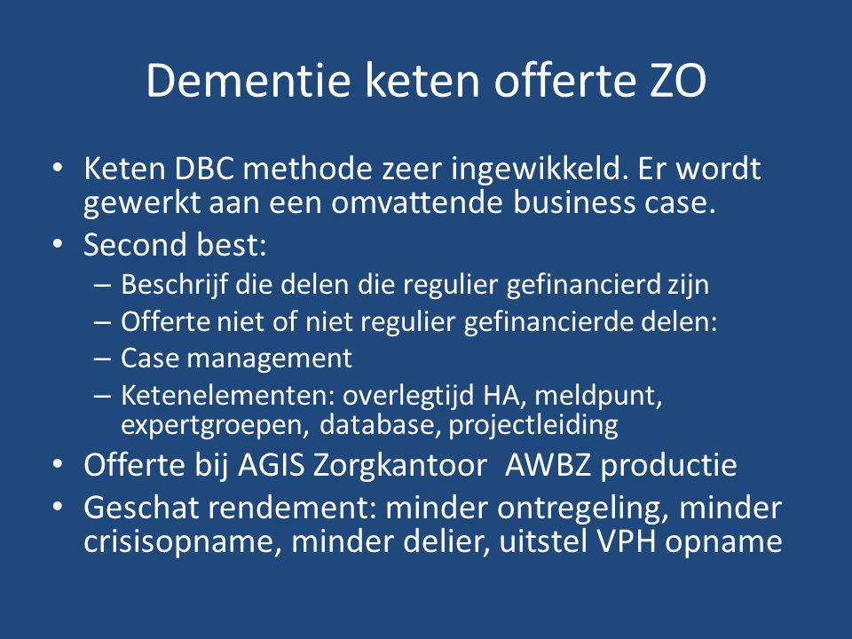 Dementie keten offerte ZO Keten DBC methode zeer ingewikkeld.