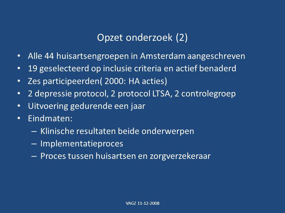 VAGZ 11-12-2008 Opzet onderzoek (2) Alle 44 huisartsengroepen in Amsterdam aangeschreven 19 geselecteerd op inclusie criteria en actief benaderd Zes participeerden( 2000: HA acties) 2 depressie protocol, 2 protocol LTSA, 2 controlegroep Uitvoering gedurende een jaar Eindmaten: – Klinische resultaten beide onderwerpen – Implementatieproces – Proces tussen huisartsen en zorgverzekeraar