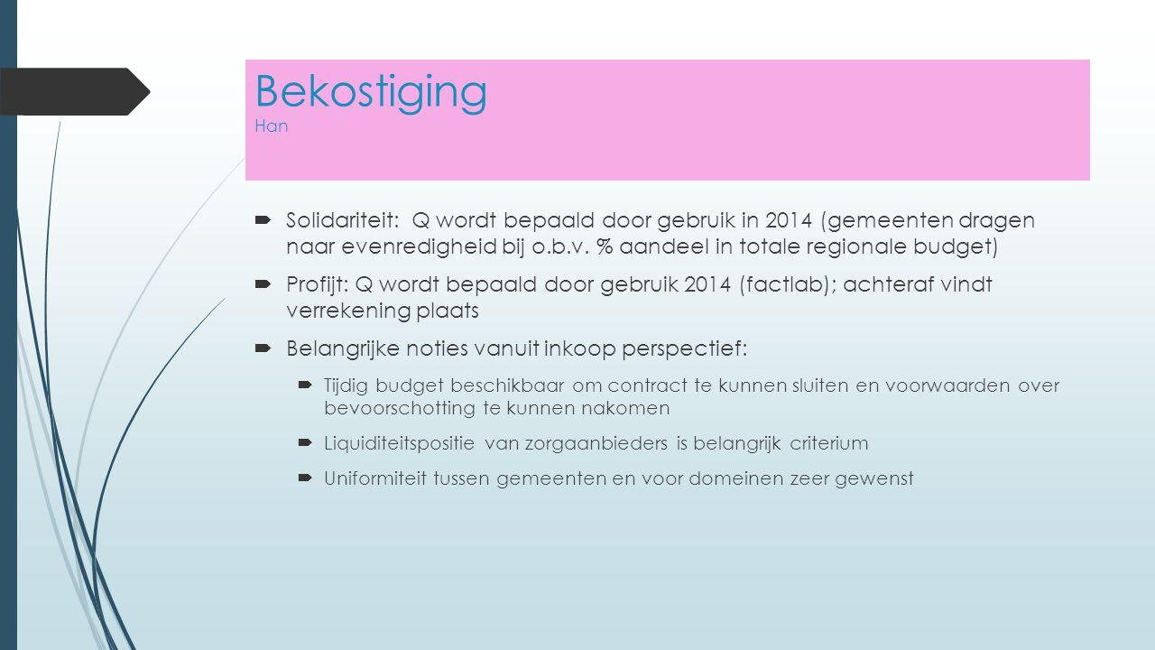 Bekostiging Han  Solidariteit: Q wordt bepaald door gebruik in 2014 (gemeenten dragen naar evenredigheid bij o.b.v.