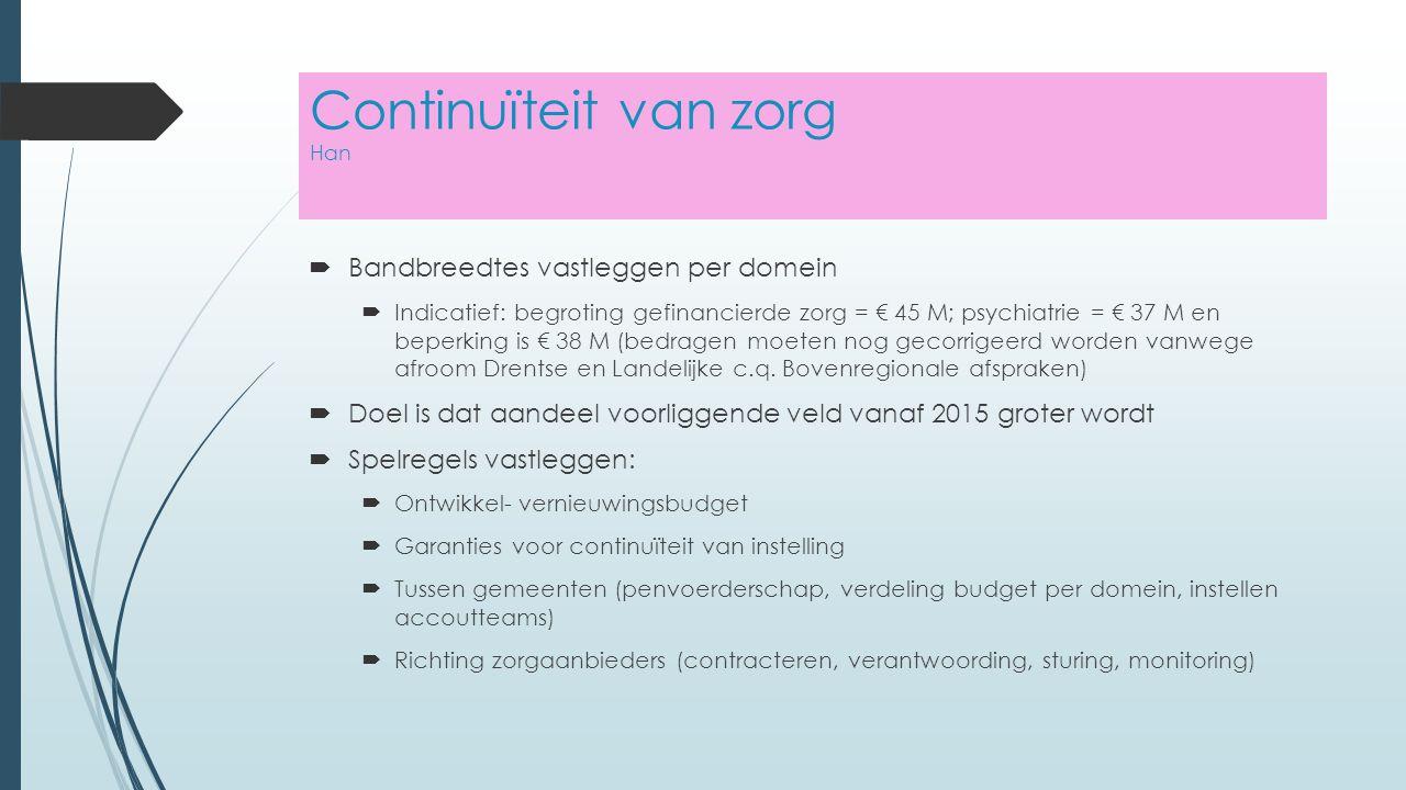 Continuïteit van zorg Han  Bandbreedtes vastleggen per domein  Indicatief: begroting gefinancierde zorg = € 45 M; psychiatrie = € 37 M en beperking is € 38 M (bedragen moeten nog gecorrigeerd worden vanwege afroom Drentse en Landelijke c.q.