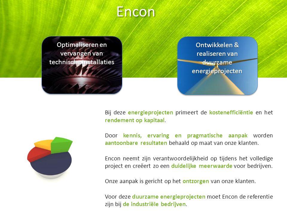Optimaliseren en vervangen van technische installaties Ontwikkelen & realiseren van duurzame energieprojecten Encon Bij deze energieprojecten primeert de kostenefficiëntie en het rendement op kapitaal.