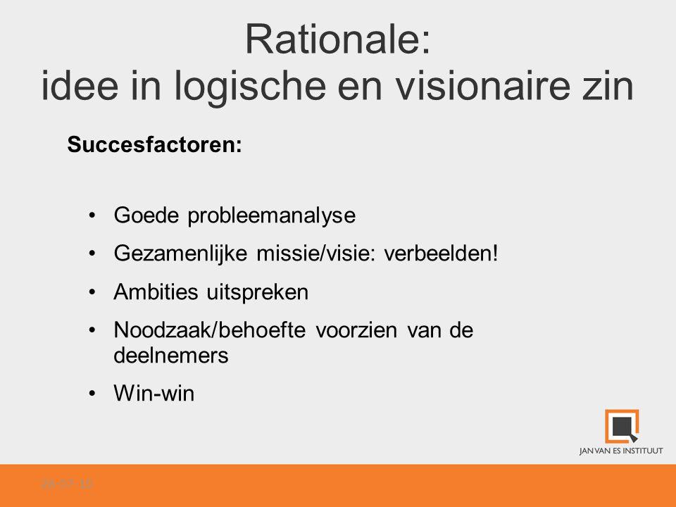 Rationale: idee in logische en visionaire zin Succesfactoren: Goede probleemanalyse Gezamenlijke missie/visie: verbeelden! Ambities uitspreken Noodzaa