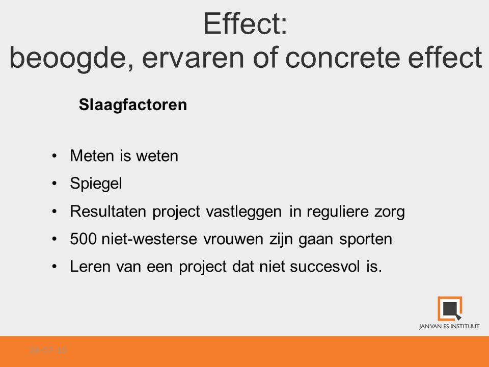 Effect: beoogde, ervaren of concrete effect Slaagfactoren Meten is weten Spiegel Resultaten project vastleggen in reguliere zorg 500 niet-westerse vro