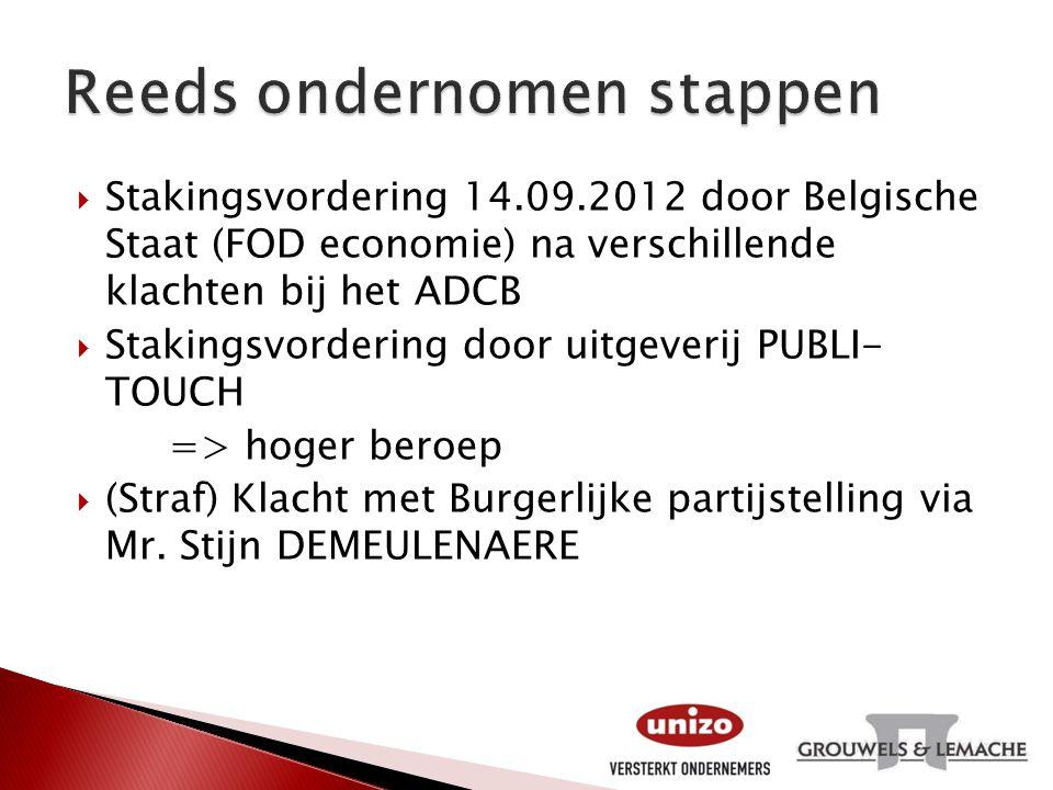  Stakingsvordering 14.09.2012 door Belgische Staat (FOD economie) na verschillende klachten bij het ADCB  Stakingsvordering door uitgeverij PUBLI- T