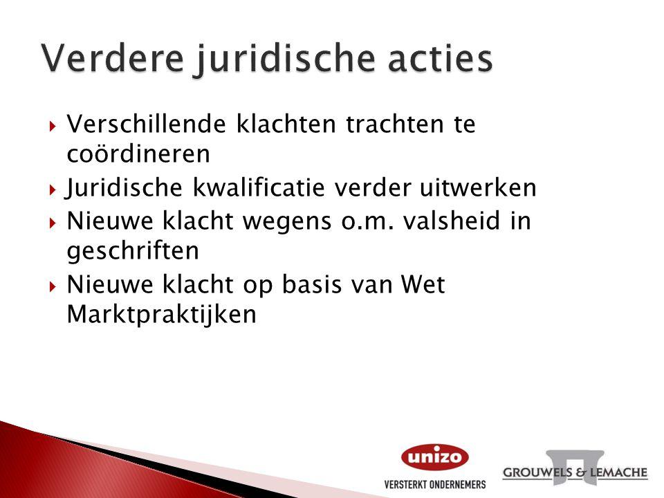  Verschillende klachten trachten te coördineren  Juridische kwalificatie verder uitwerken  Nieuwe klacht wegens o.m. valsheid in geschriften  Nieu