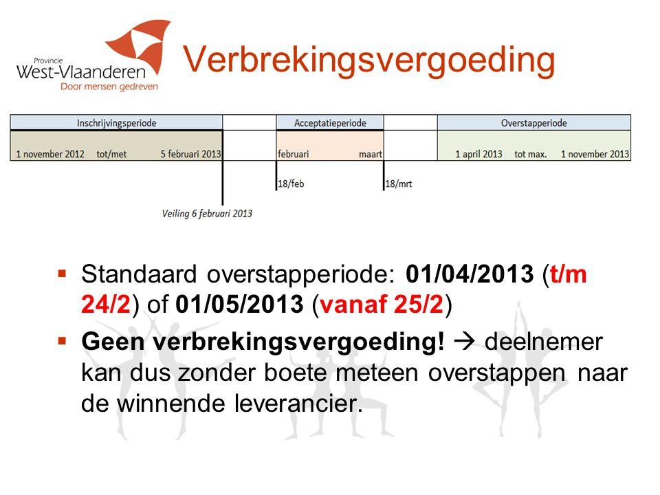 Verbrekingsvergoeding  Standaard overstapperiode: 01/04/2013 (t/m 24/2) of 01/05/2013 (vanaf 25/2)  Geen verbrekingsvergoeding.