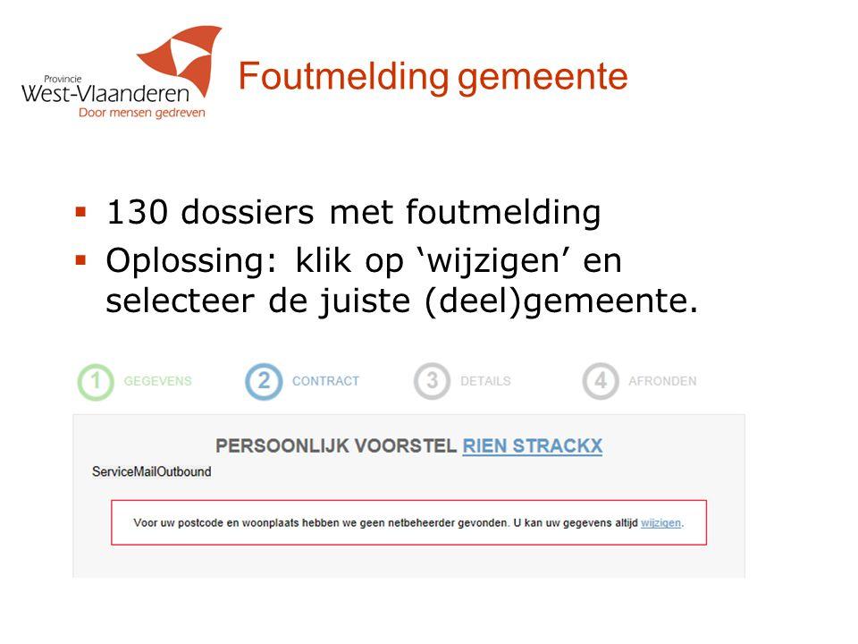 Foutmelding gemeente  130 dossiers met foutmelding  Oplossing: klik op 'wijzigen' en selecteer de juiste (deel)gemeente.