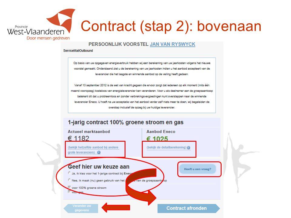 Contract (stap 2): bovenaan