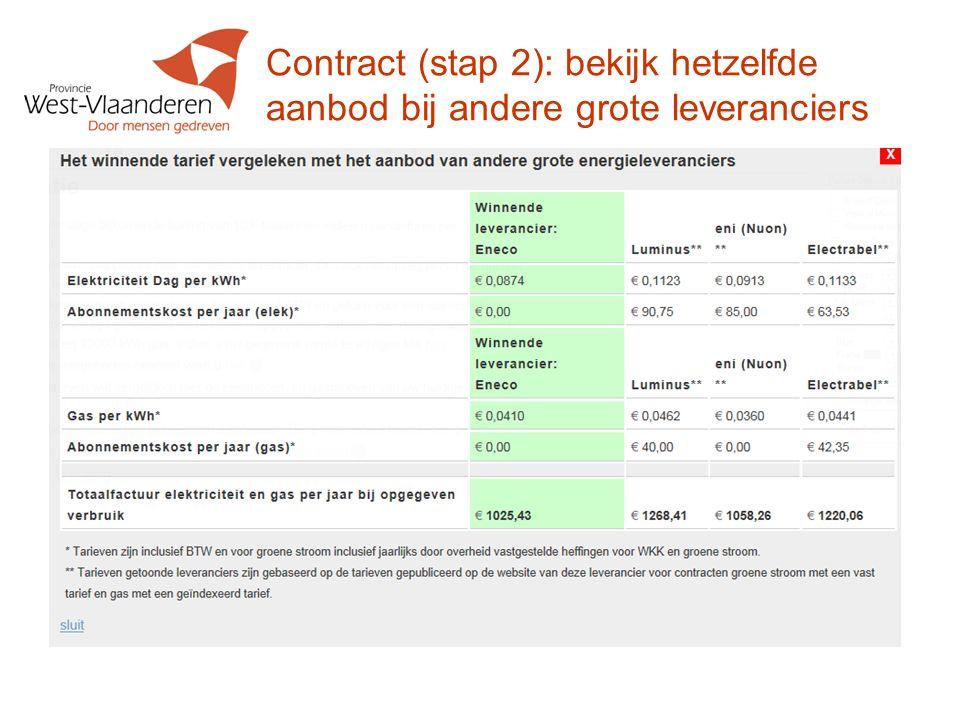 Contract (stap 2): bekijk hetzelfde aanbod bij andere grote leveranciers