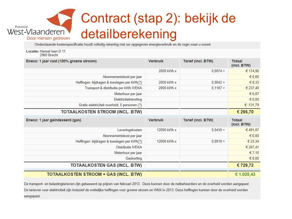 Contract (stap 2): bekijk de detailberekening